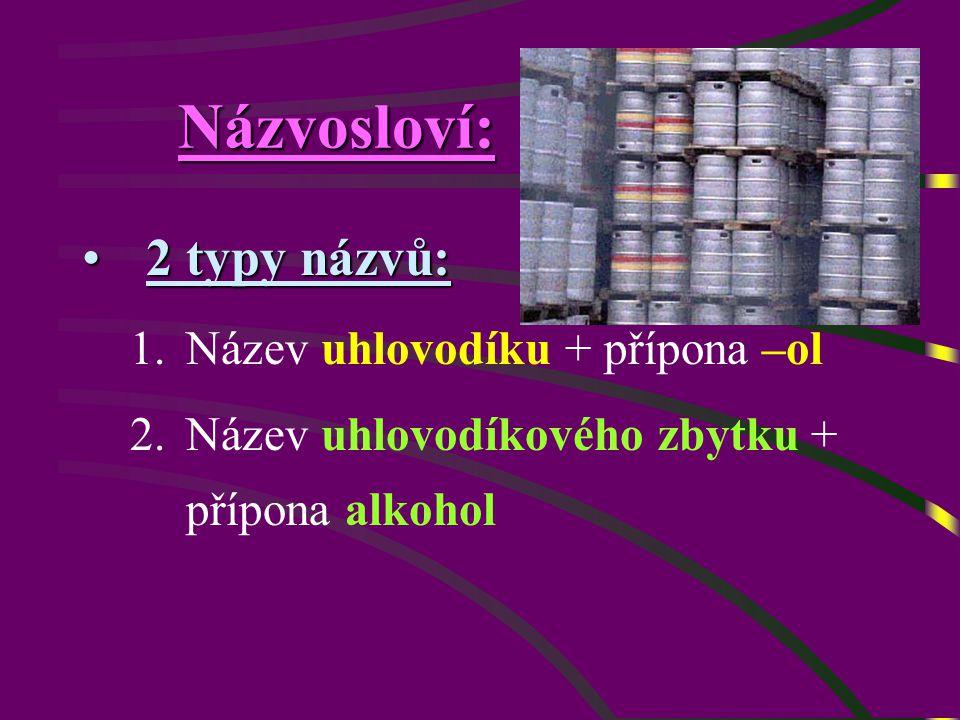 Názvosloví: 2 typy názvů:2 typy názvů: 1.Název uhlovodíku + přípona –ol 2.Název uhlovodíkového zbytku + přípona alkohol