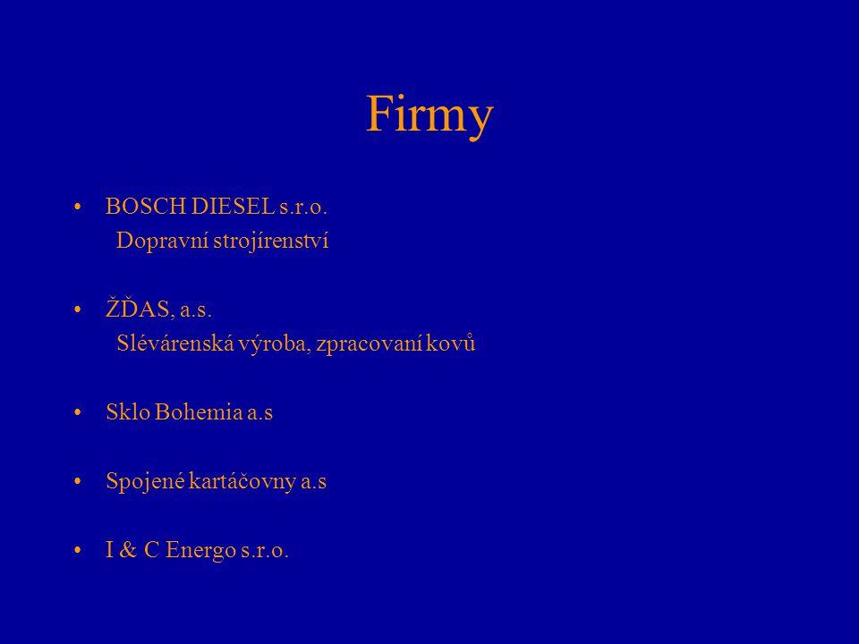 Firmy BOSCH DIESEL s.r.o. Dopravní strojírenství ŽĎAS, a.s. Slévárenská výroba, zpracovaní kovů Sklo Bohemia a.s Spojené kartáčovny a.s I & C Energo s