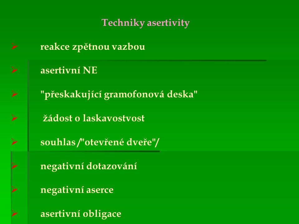 Techniky asertivity rreakce zpětnou vazbou aasertivní NE 