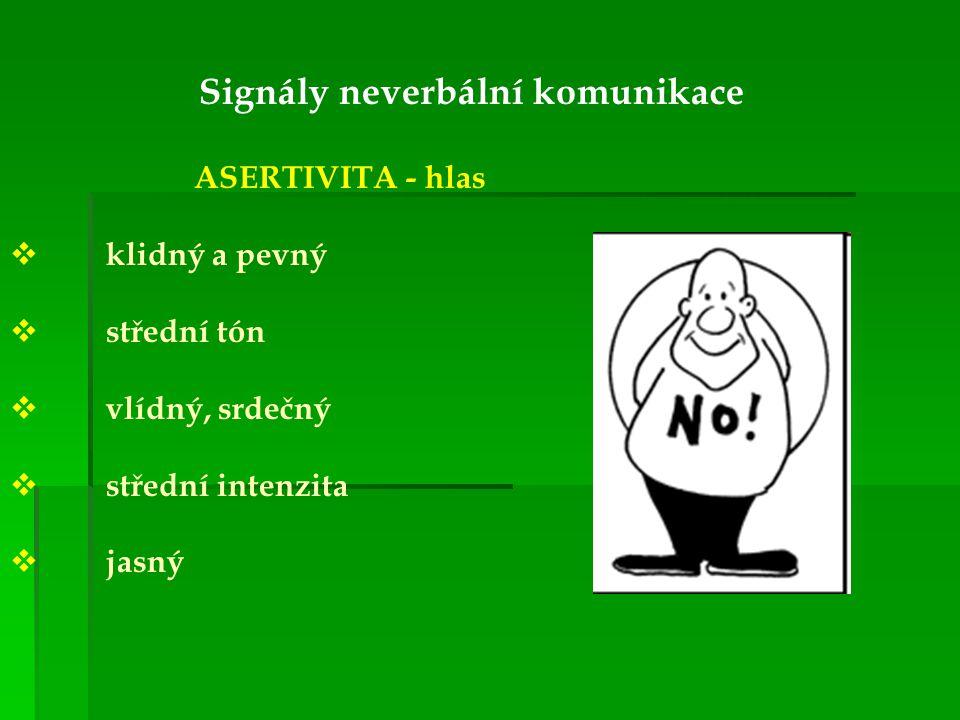 Signály neverbální komunikace ASERTIVITA - hlas kklidný a pevný sstřední tón vvlídný, srdečný sstřední intenzita jjasný