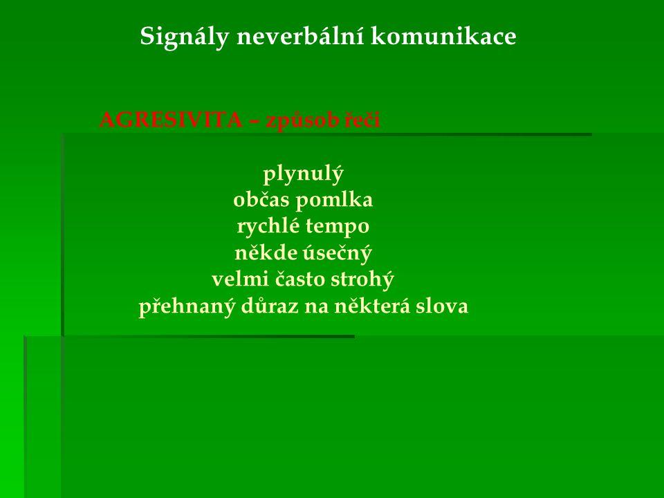 Signály neverbální komunikace AGRESIVITA – způsob řeči plynulý občas pomlka rychlé tempo někde úsečný velmi často strohý přehnaný důraz na některá slo