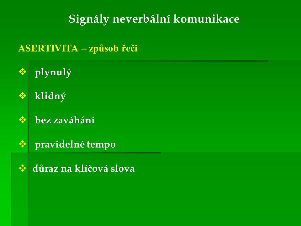 Signály neverbální komunikace ASERTIVITA – způsob řeči  plynulý  klidný  bez zaváhání  pravidelné tempo  důraz na klíčová slova