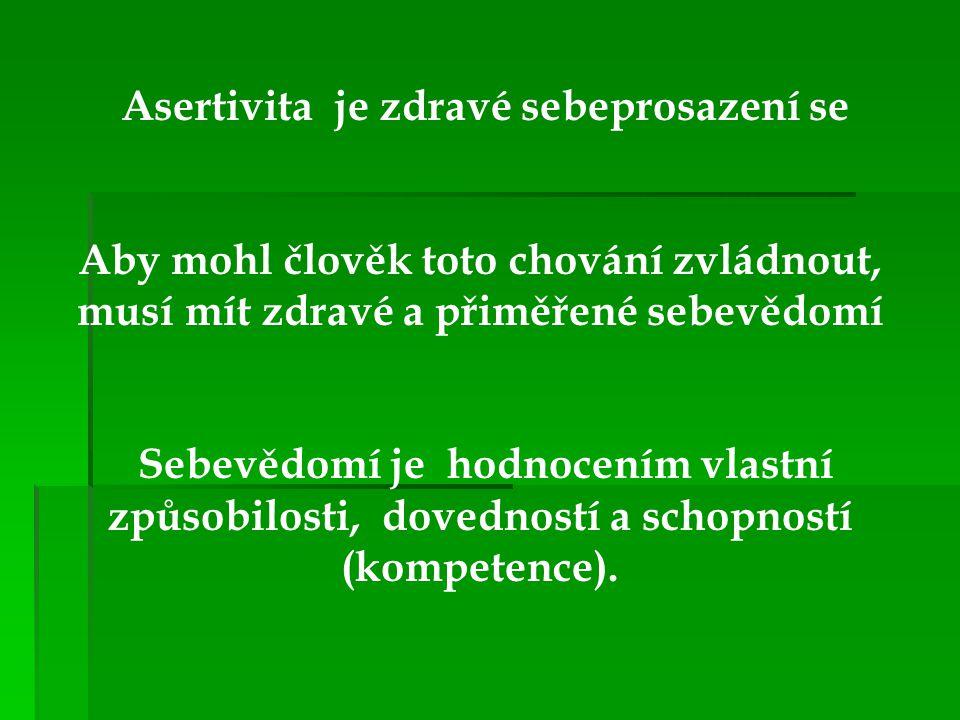 Asertivita je zdravé sebeprosazení se Aby mohl člověk toto chování zvládnout, musí mít zdravé a přiměřené sebevědomí Sebevědomí je hodnocením vlastní
