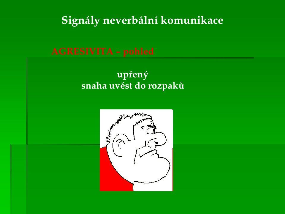 Signály neverbální komunikace AGRESIVITA – pohled upřený snaha uvést do rozpaků