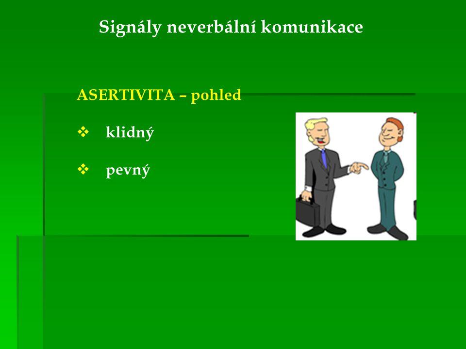 Signály neverbální komunikace ASERTIVITA – pohled  klidný  pevný