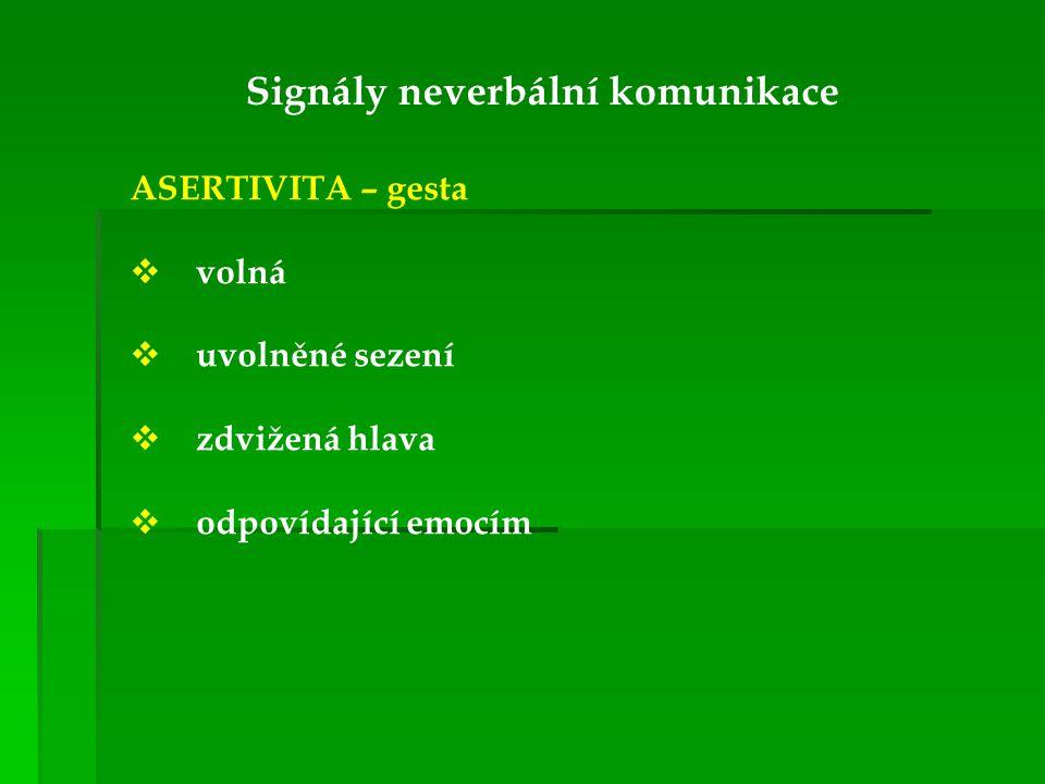 Signály neverbální komunikace ASERTIVITA – gesta  volná  uvolněné sezení  zdvižená hlava  odpovídající emocím