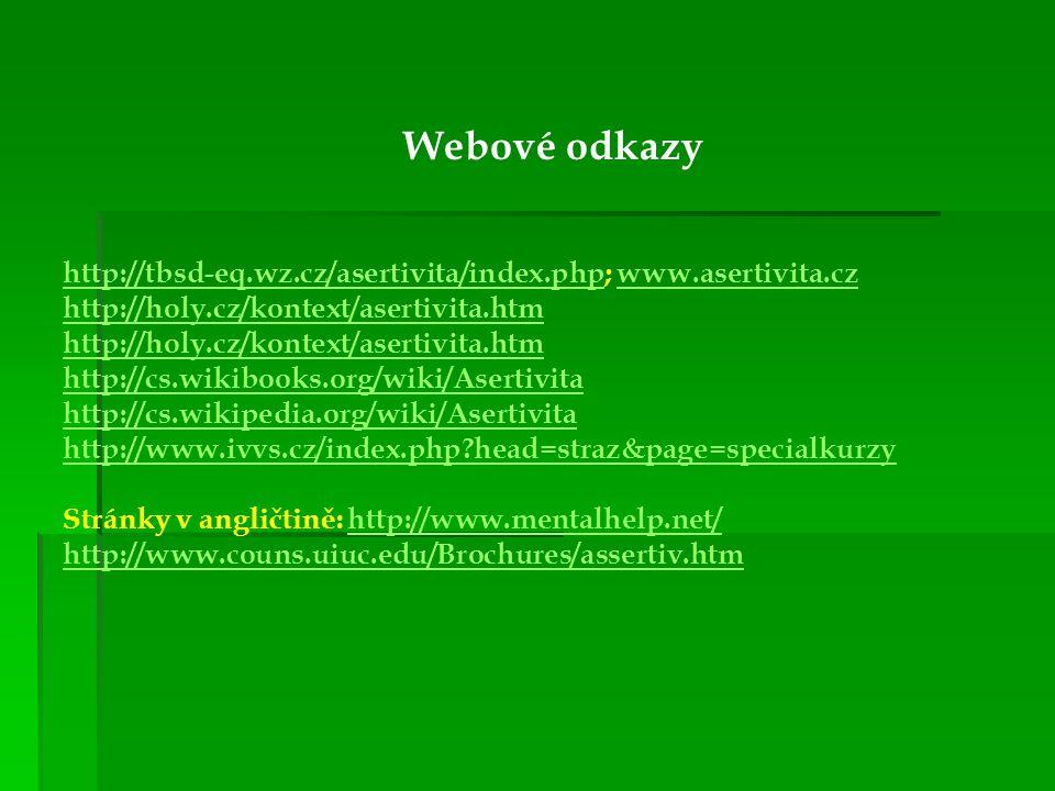 Webové odkazy http://tbsd-eq.wz.cz/asertivita/index.php; www.asertivita.cz http://holy.cz/kontext/asertivita.htm http://holy.cz/kontext/asertivita.htm