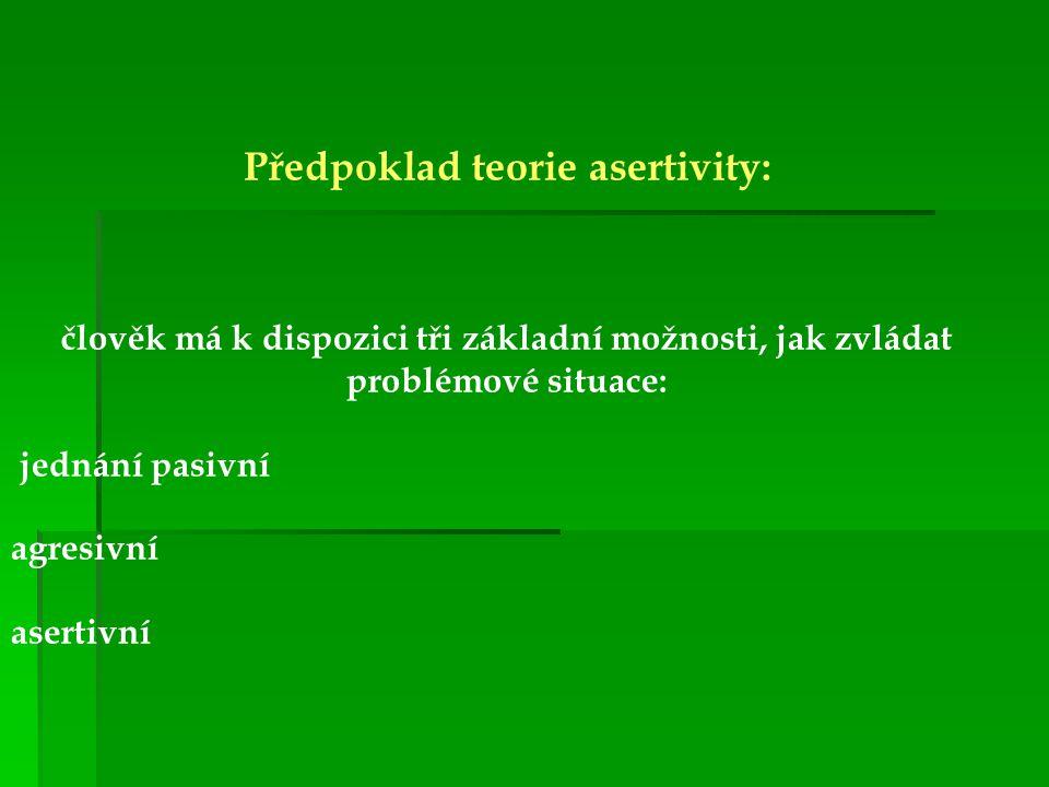 Předpoklad teorie asertivity: člověk má k dispozici tři základní možnosti, jak zvládat problémové situace: jednání pasivní agresivní asertivní