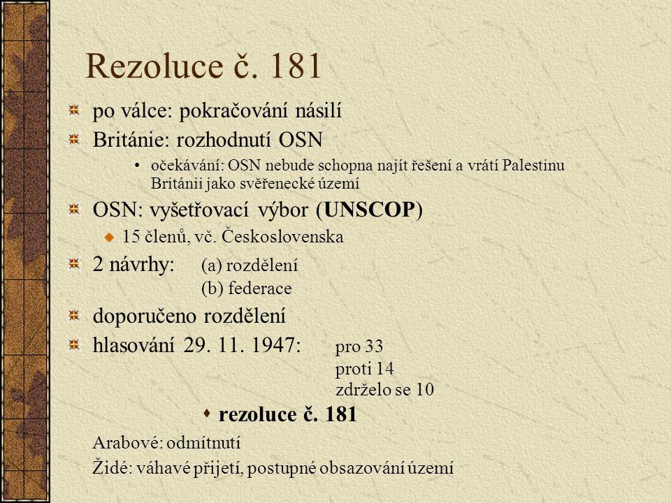 Rezoluce č. 181 po válce: pokračování násilí Británie: rozhodnutí OSN očekávání: OSN nebude schopna najít řešení a vrátí Palestinu Británii jako svěře