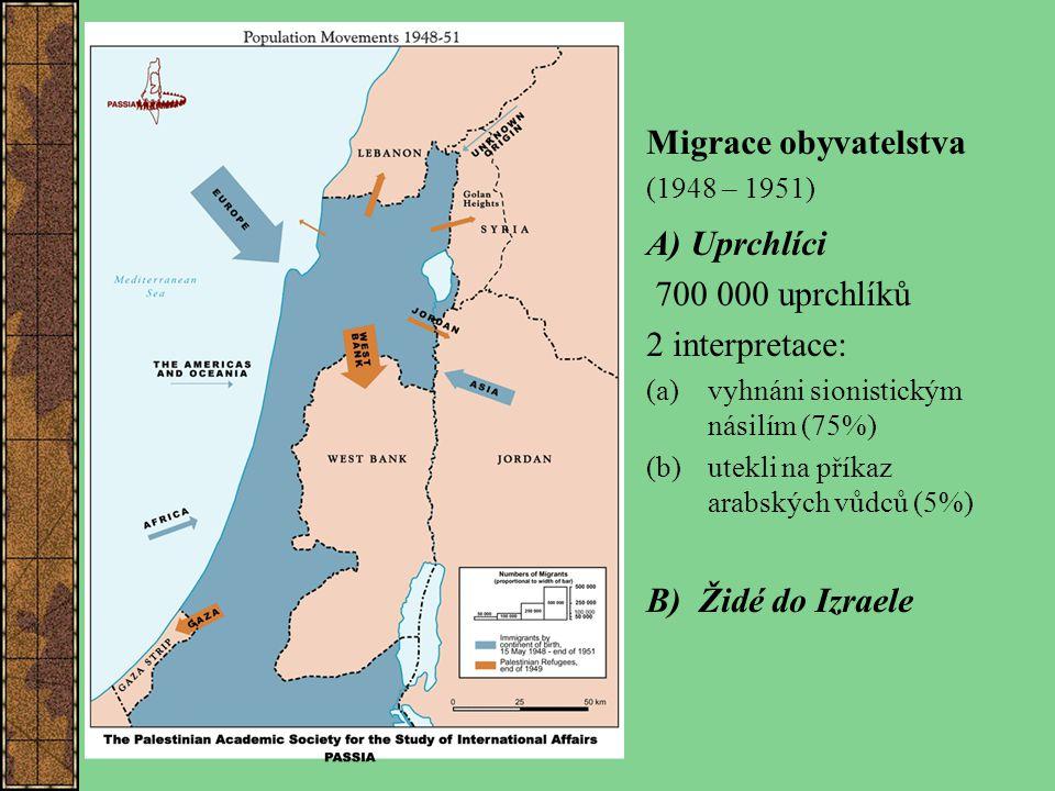 Migrace obyvatelstva (1948 – 1951) A) Uprchlíci 700 000 uprchlíků 2 interpretace: (a) vyhnáni sionistickým násilím (75%) (b) utekli na příkaz arabskýc
