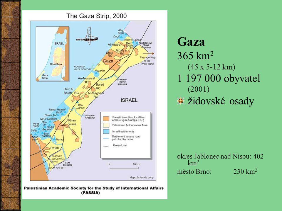 Gaza 365 km 2 (45 x 5-12 km) 1 197 000 obyvatel (2001) židovské osady okres Jablonec nad Nisou: 402 km 2 město Brno: 230 km 2