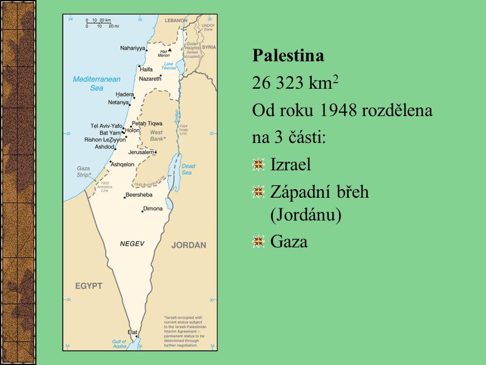 Palestina 26 323 km 2 Od roku 1948 rozdělena na 3 části: Izrael Západní břeh (Jordánu) Gaza