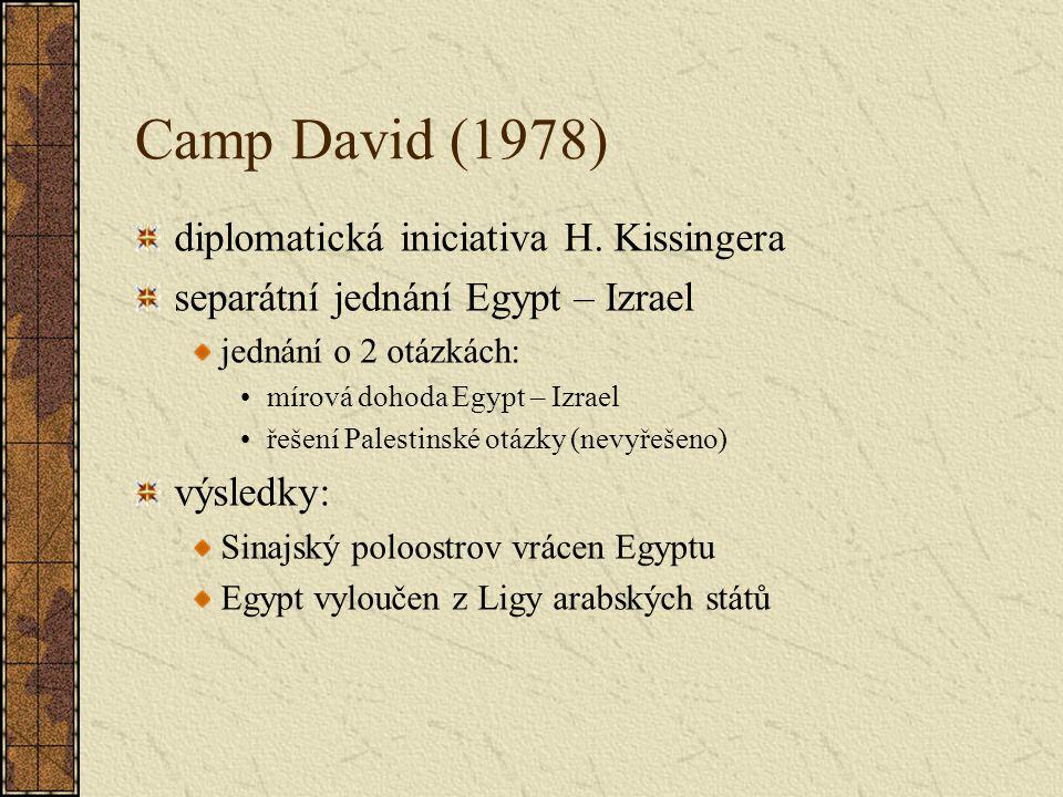 Camp David (1978) diplomatická iniciativa H. Kissingera separátní jednání Egypt – Izrael jednání o 2 otázkách: mírová dohoda Egypt – Izrael řešení Pal