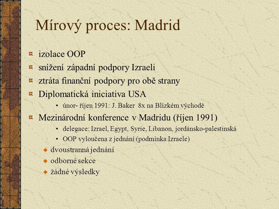Mírový proces: Madrid izolace OOP snížení západní podpory Izraeli ztráta finanční podpory pro obě strany Diplomatická iniciativa USA únor- říjen 1991: