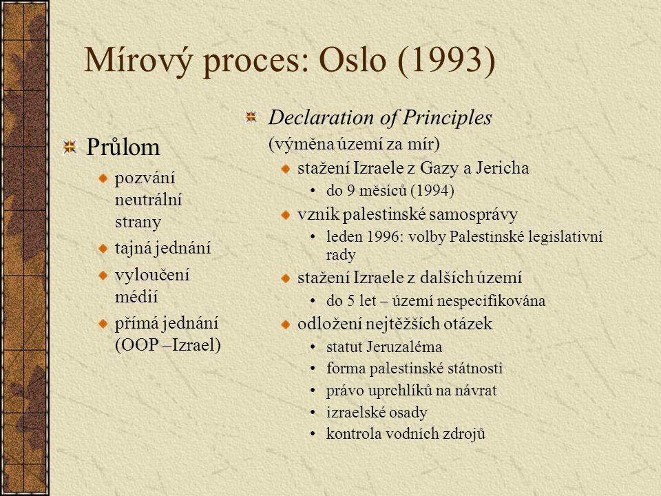 Mírový proces: Oslo (1993) Průlom pozvání neutrální strany tajná jednání vyloučení médií přímá jednání (OOP –Izrael) Declaration of Principles (výměna