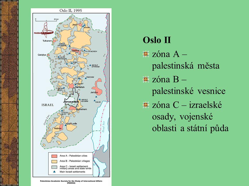 Oslo II zóna A – palestinská města zóna B – palestinské vesnice zóna C – izraelské osady, vojenské oblasti a státní půda