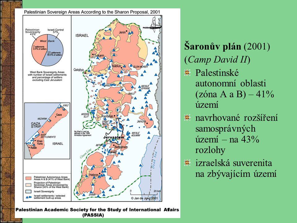 Šaronův plán (2001) (Camp David II) Palestinské autonomní oblasti (zóna A a B) – 41% území navrhované rozšíření samosprávných území – na 43% rozlohy i