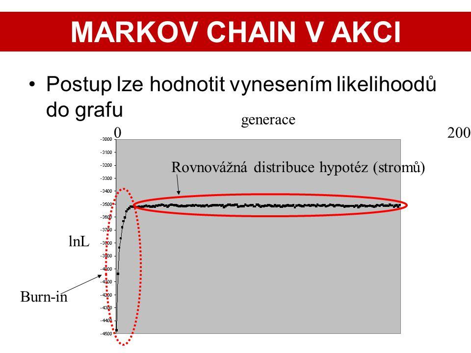 27 Postup lze hodnotit vynesením likelihoodů do grafu lnL 0 200 generace Burn-in Rovnovážná distribuce hypotéz (stromů) MARKOV CHAIN V AKCI