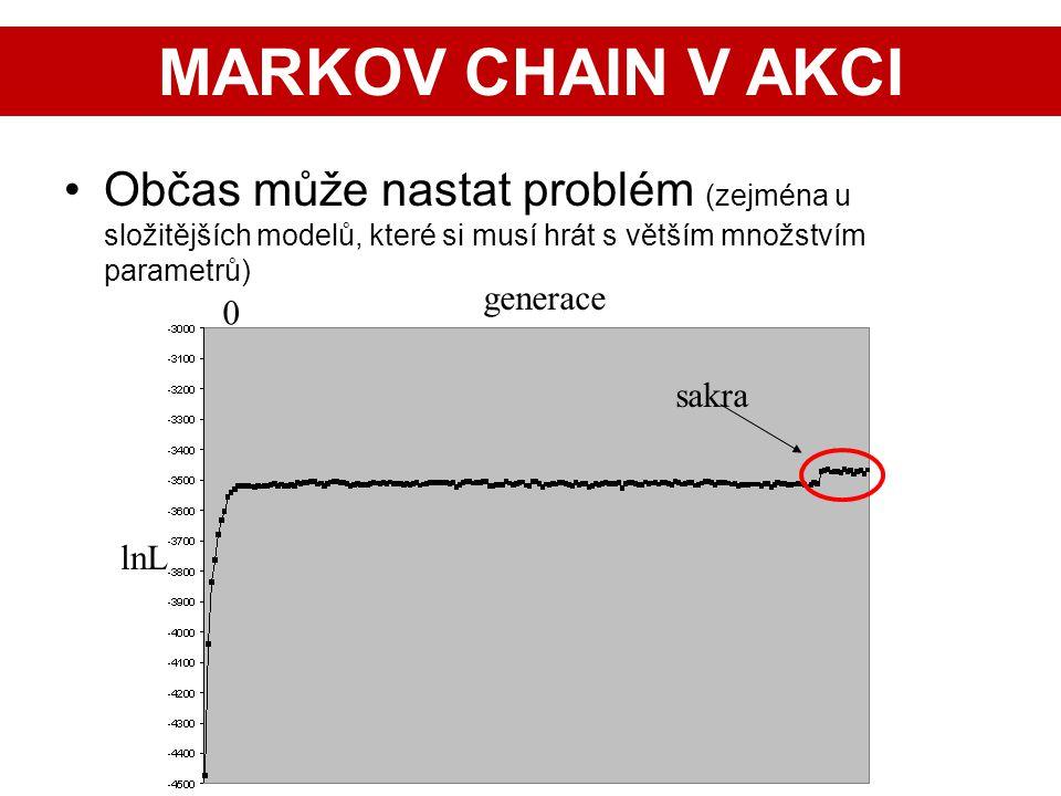 28 Občas může nastat problém (zejména u složitějších modelů, které si musí hrát s větším množstvím parametrů) lnL 0 generace sakra MARKOV CHAIN V AKCI