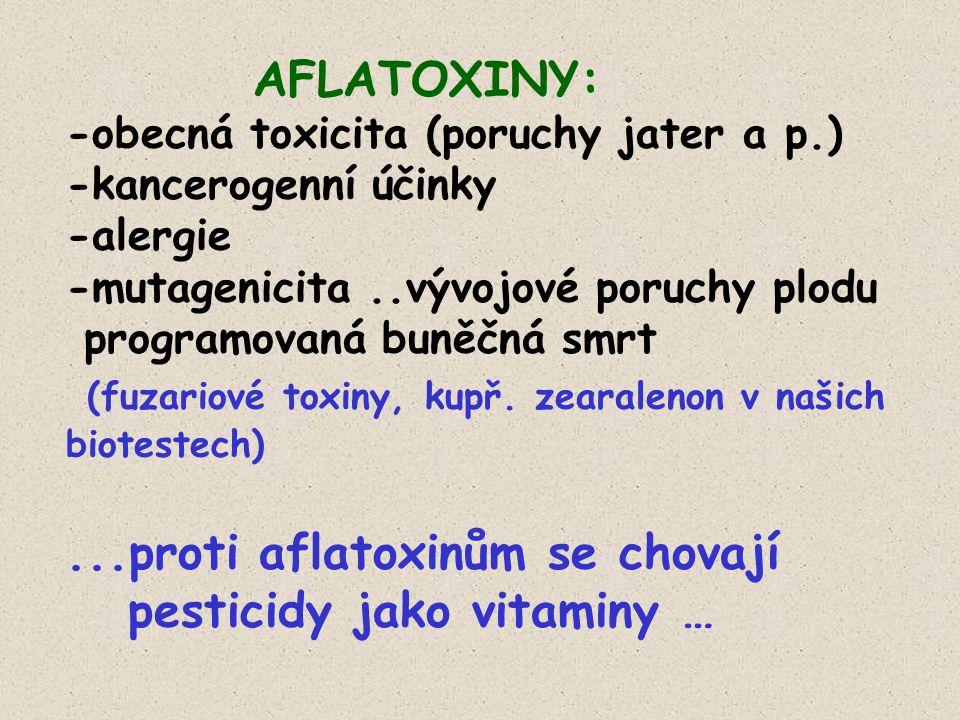 AFLATOXINY: -obecná toxicita (poruchy jater a p.) -kancerogenní účinky -alergie -mutagenicita..vývojové poruchy plodu programovaná buněčná smrt (fuzariové toxiny, kupř.