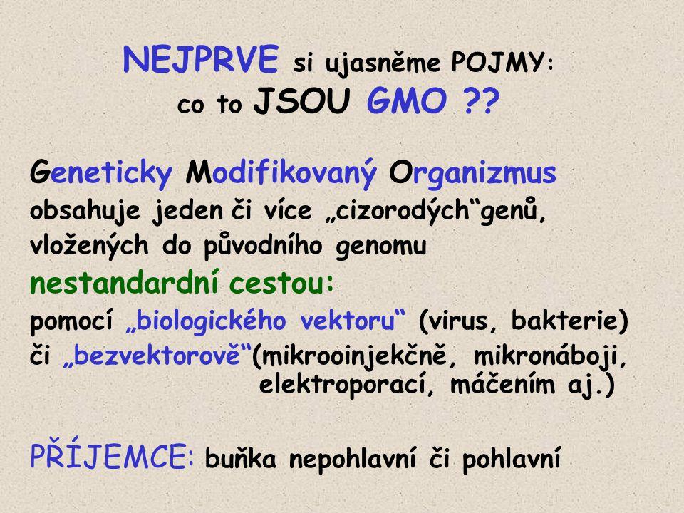 """NEJPRVE si ujasněme POJMY : co to JSOU GMO ?? Geneticky Modifikovaný Organizmus obsahuje jeden či více """"cizorodých""""genů, vložených do původního genomu"""