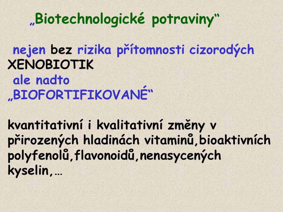 """"""" Biotechnologické potraviny nejen bez rizika přítomnosti cizorodých XENOBIOTIK ale nadto """"BIOFORTIFIKOVANÉ kvantitativní i kvalitativní změny v přirozených hladinách vitaminů,bioaktivních polyfenolů,flavonoidů,nenasycených kyselin,…"""