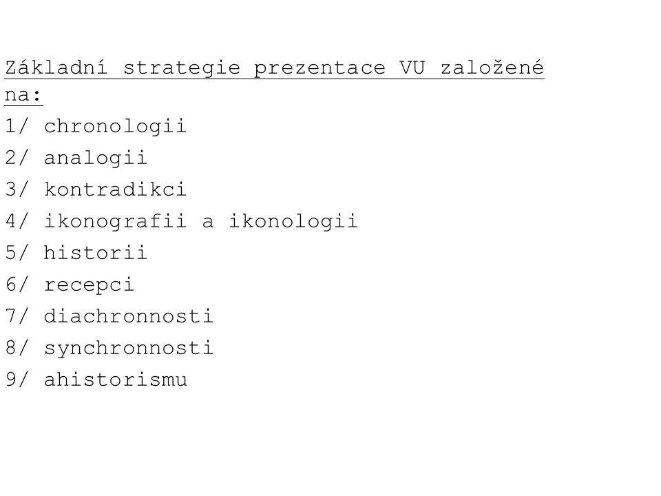 Základní strategie prezentace VU založené na: 1/ chronologii 2/ analogii 3/ kontradikci 4/ ikonografii a ikonologii 5/ historii 6/ recepci 7/ diachron