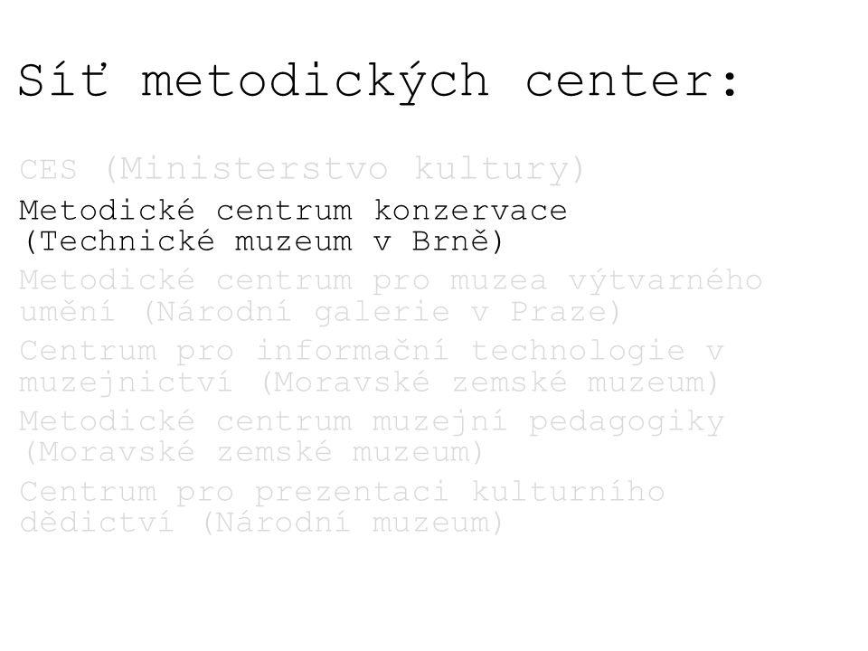 Síť metodických center: CES (Ministerstvo kultury) Metodické centrum konzervace (Technické muzeum v Brně) Metodické centrum pro muzea výtvarného umění