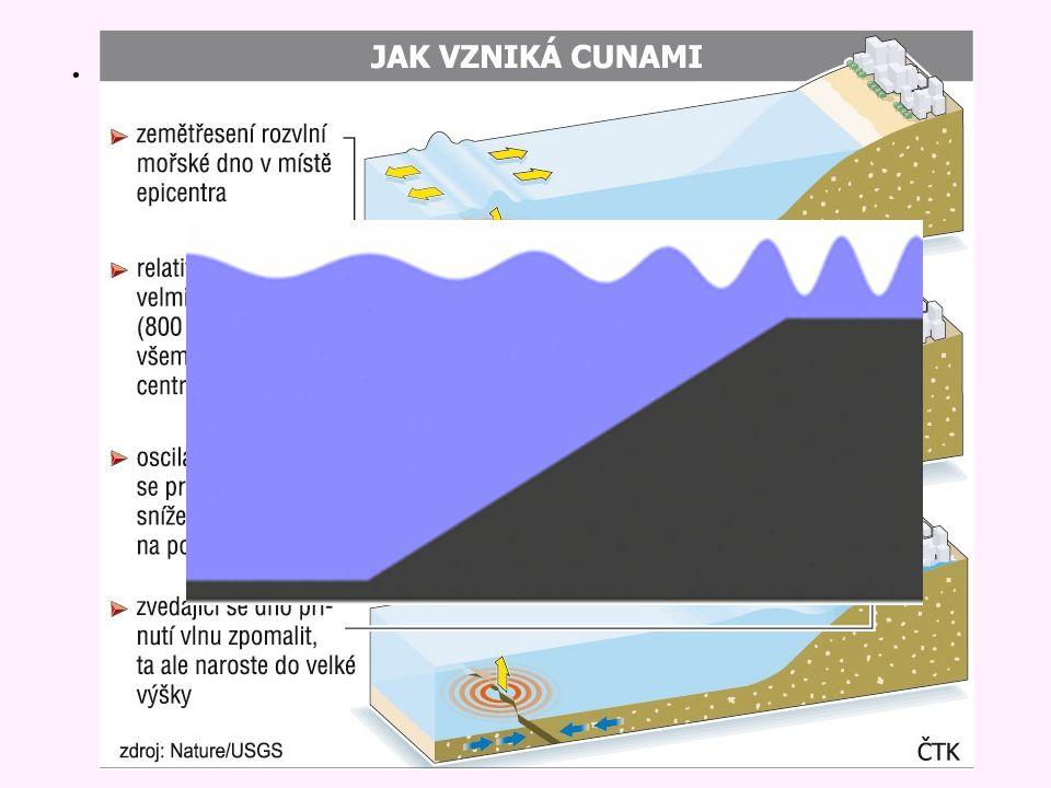 T sunami T sunami - vlnění mořské hladiny vyvolané podmořským zemětřesením