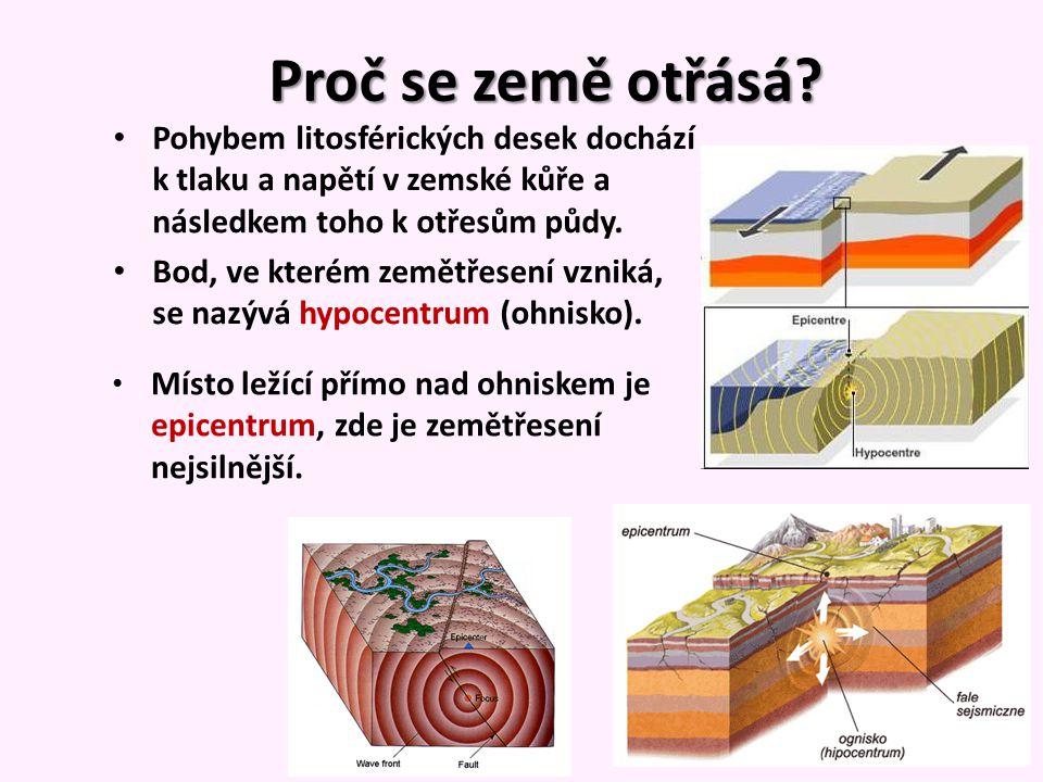 Proč se země otřásá? Pohybem litosférických desek dochází k tlaku a napětí v zemské kůře a následkem toho k otřesům půdy. Bod, ve kterém zemětřesení v