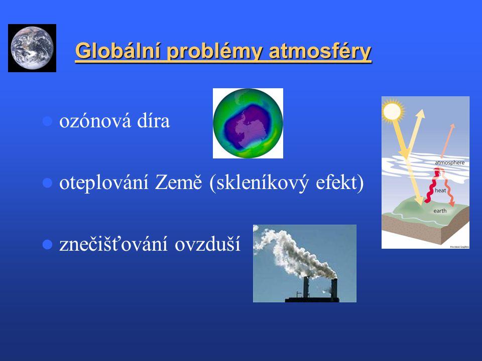 Globální problémy atmosféry Globální problémy atmosféry ozónová díra oteplování Země (skleníkový efekt) znečišťování ovzduší