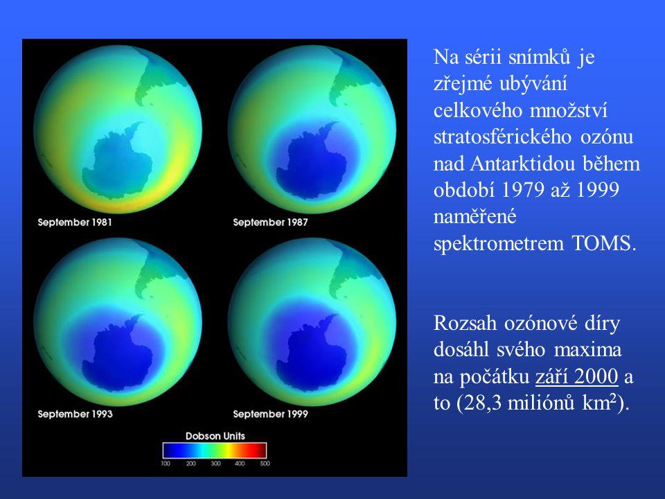 Na sérii snímků je zřejmé ubývání celkového množství stratosférického ozónu nad Antarktidou během období 1979 až 1999 naměřené spektrometrem TOMS.