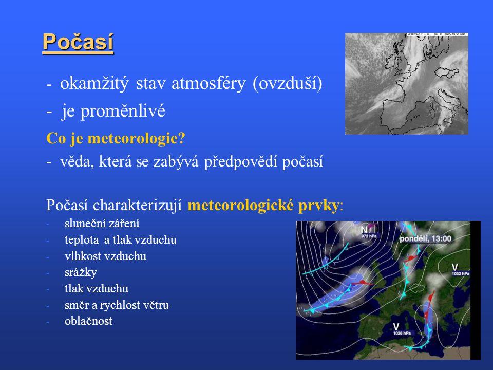 Počasí - okamžitý stav atmosféry (ovzduší) - je proměnlivé Co je meteorologie? - věda, která se zabývá předpovědí počasí Počasí charakterizují meteoro