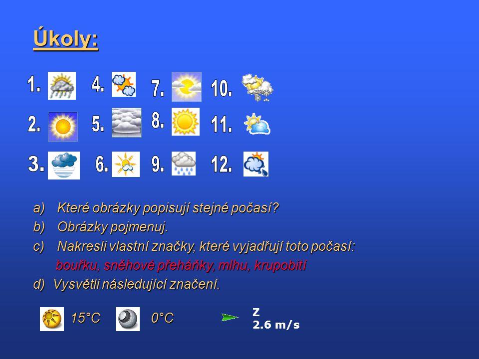 Úkoly: Z 2.6 m/s a)Které obrázky popisují stejné počasí? b)Obrázky pojmenuj. c)Nakresli vlastní značky, které vyjadřují toto počasí: bouřku, sněhové p