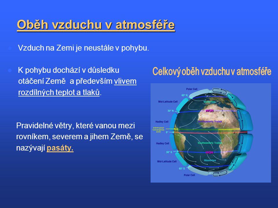 Oběh vzduchu v atmosféře Vzduch na Zemi je neustále v pohybu. K pohybu dochází v důsledku otáčení Země a především vlivem rozdílných teplot a tlaků. P