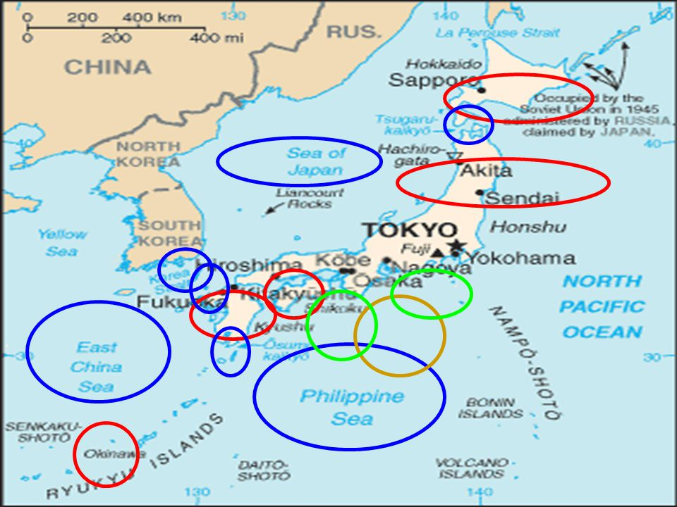 Geografie Ostrovní země -3900 ostrovůOstrovní země -3900 ostrovů Největší ostrovy: Hokkaidó,Honšú,Šikoku,Kjúšú,OkinawaNejvětší ostrovy: Hokkaidó,Honšú,Šikoku,Kjúšú,Okinawa Významné řeky (jezero): Shinano, Ishikari,Tone; Biwa-KoVýznamné řeky (jezero): Shinano, Ishikari,Tone; Biwa-Ko Moře a průlivy:Japonské,Východočínské,Filipínské,Korejský,Moře a průlivy:Japonské,Východočínské,Filipínské,Korejský,Cugarský,Cušimský,Ósumi Pohoří:Japonské Alpy Pohoří:Japonské Alpy Nejvyšší hora: Fuji-San 3776 m (nečinná sopka) Nejvyšší hora: Fuji-San 3776 m (nečinná sopka) Nížiny:Kantó,Kansai Nížiny:Kantó,Kansai Přibližně 80% povrchu pokrývají hory Přibližně 80% povrchu pokrývají hory Časté zemětřesení,tajfuny,tsunami Časté zemětřesení,tajfuny,tsunami 67 sopek je stále činných 67 sopek je stále činných