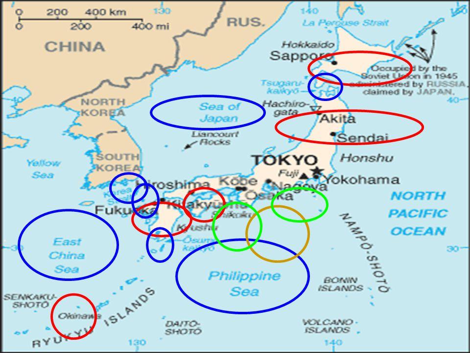 Historie Vstup USA do 2.sv.války  neprospěch Japonska (ztráta Okinawy a Rjúkjú,zatlačeno na 4 hlavní ostrovyVstup USA do 2.sv.války  neprospěch Japonska (ztráta Okinawy a Rjúkjú,zatlačeno na 4 hlavní ostrovy Útok na Tokyo,Ósaku a na Hirošimu a Nagasaki atomovými bombami 2.9.1945: kapitulace Japonska2.9.1945: kapitulace Japonska Poražené Japonsko pod okupační smlouvou USA do r.1952Poražené Japonsko pod okupační smlouvou USA do r.1952 1964: Olympijské hry v Tokyu1964: Olympijské hry v Tokyu Ostrovy Rjúkjú pod správou do r.1972 (vojenská přítomnost USA dodnes)Ostrovy Rjúkjú pod správou do r.1972 (vojenská přítomnost USA dodnes)