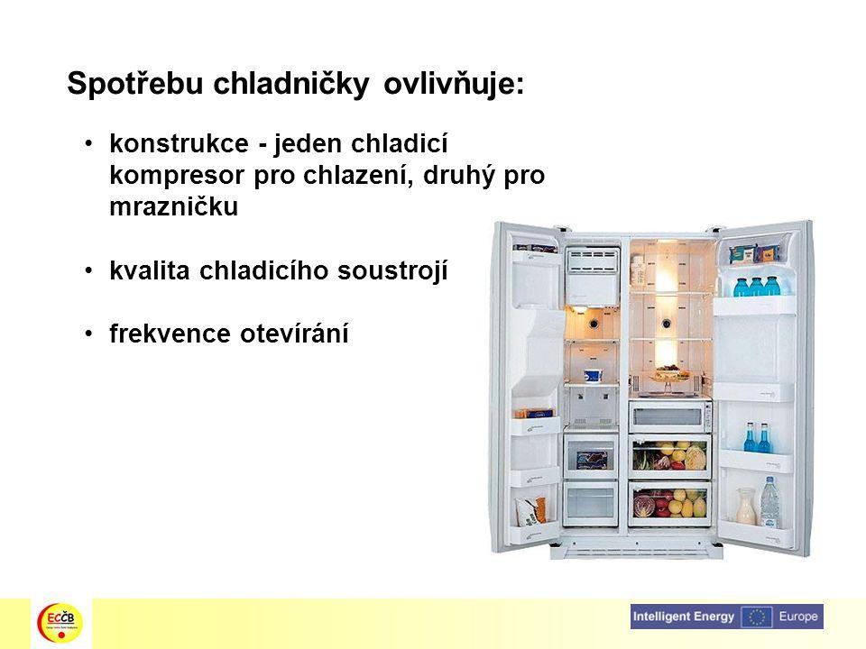 Spotřebu chladničky ovlivňuje: konstrukce - jeden chladicí kompresor pro chlazení, druhý pro mrazničku kvalita chladicího soustrojí frekvence otevírán