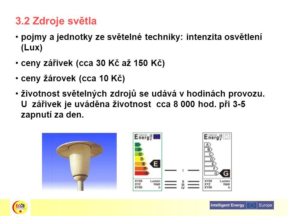 3.2 Zdroje světla pojmy a jednotky ze světelné techniky: intenzita osvětlení (Lux) ceny zářivek (cca 30 Kč až 150 Kč) ceny žárovek (cca 10 Kč) životno