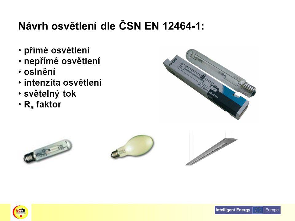 Návrh osvětlení dle ČSN EN 12464-1: přímé osvětlení nepřímé osvětlení oslnění intenzita osvětlení světelný tok R a faktor