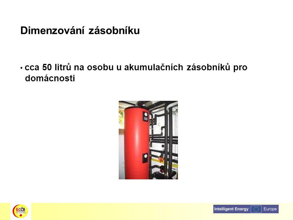 Dimenzování zásobníku cca 50 litrů na osobu u akumulačních zásobníků pro domácnosti