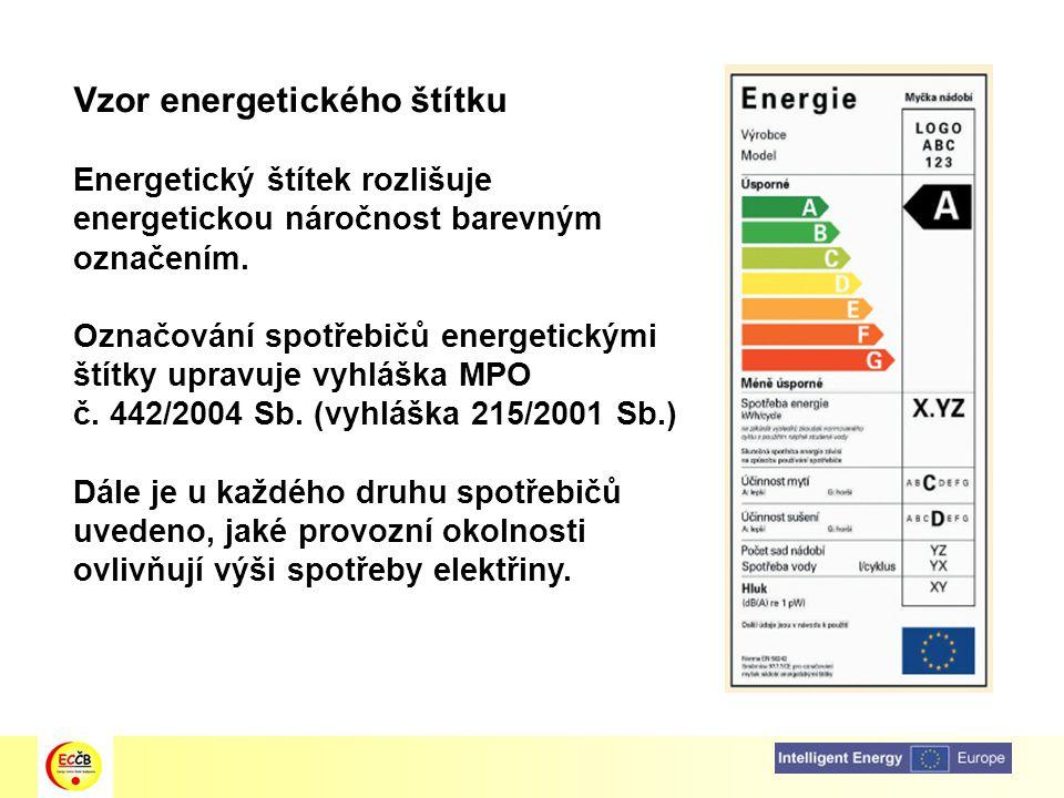 Vzor energetického štítku Energetický štítek rozlišuje energetickou náročnost barevným označením. Označování spotřebičů energetickými štítky upravuje
