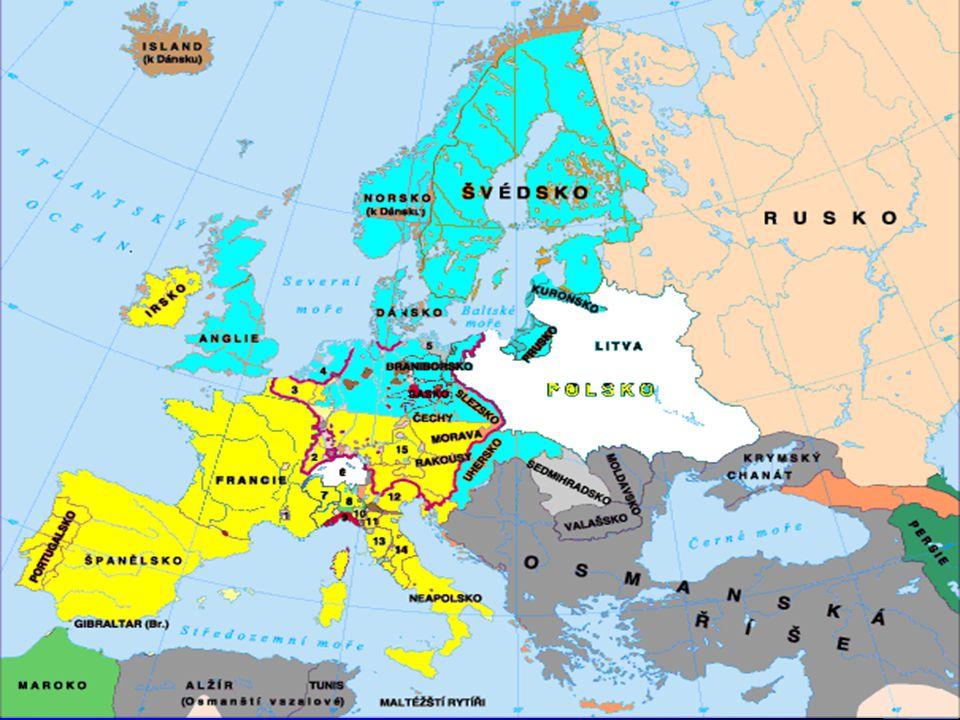 """3 Rozdělená Evropa Po vzniku a rozmachu protestantismu sbírá katolická církev síly k protireformaci Katoličtí Habsburkové ovládají značnou část Evropy (Španělsko, Svatá říše římská, Uhry polovina, Itálie, teoreticky i Nizozemí) Ve Svaté říši vynucený kompromis """"koho vláda – toho víra Sílí obava z rekatolizace"""