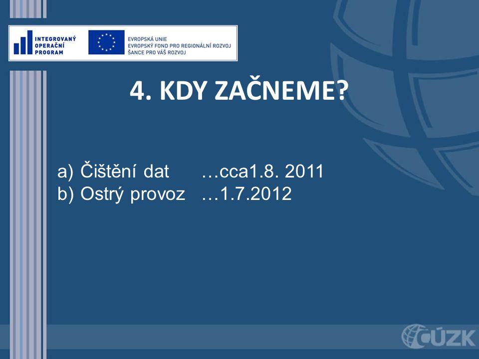 4. KDY ZAČNEME? a) Čištění dat …cca1.8. 2011 b) Ostrý provoz…1.7.2012