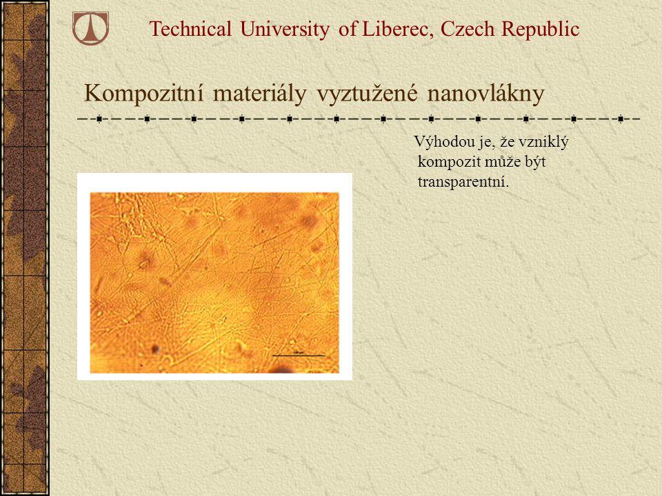 Kompozitní materiály vyztužené nanovlákny Výhodou je, že vzniklý kompozit může být transparentní. Technical University of Liberec, Czech Republic