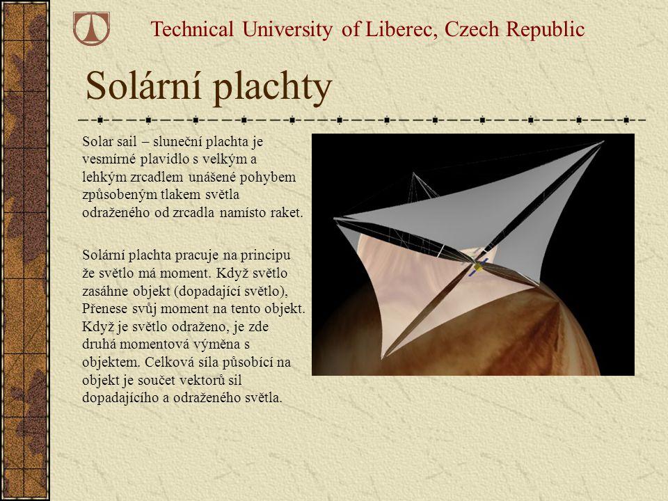 Solární plachty Solar sail – sluneční plachta je vesmírné plavidlo s velkým a lehkým zrcadlem unášené pohybem způsobeným tlakem světla odraženého od z