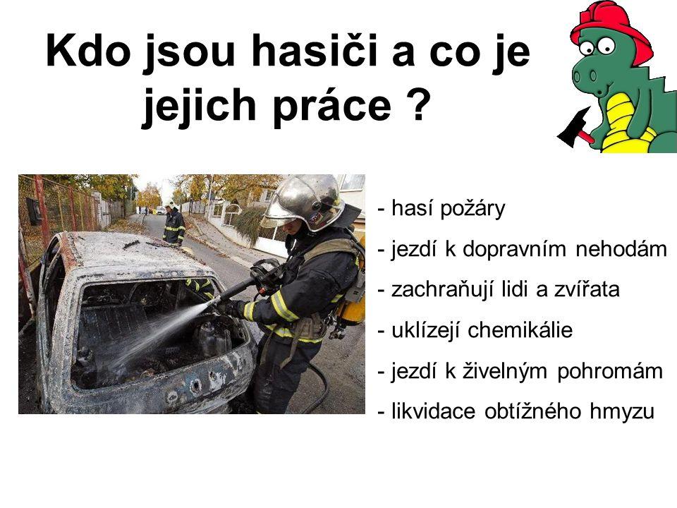 Kdo jsou hasiči a co je jejich práce ? - hasí požáry - jezdí k dopravním nehodám - zachraňují lidi a zvířata - uklízejí chemikálie - jezdí k živelným