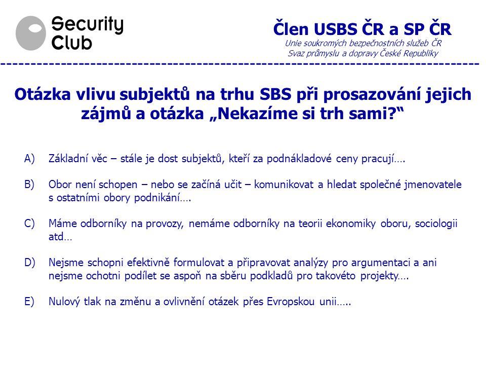 """Člen USBS ČR a SP ČR Unie soukromých bezpečnostních služeb ČR Svaz průmyslu a dopravy České Republiky --------------------------------------------------------------------------------- Otázka vlivu subjektů na trhu SBS při prosazování jejich zájmů a otázka """"Nekazíme si trh sami? A)Základní věc – stále je dost subjektů, kteří za podnákladové ceny pracují…."""
