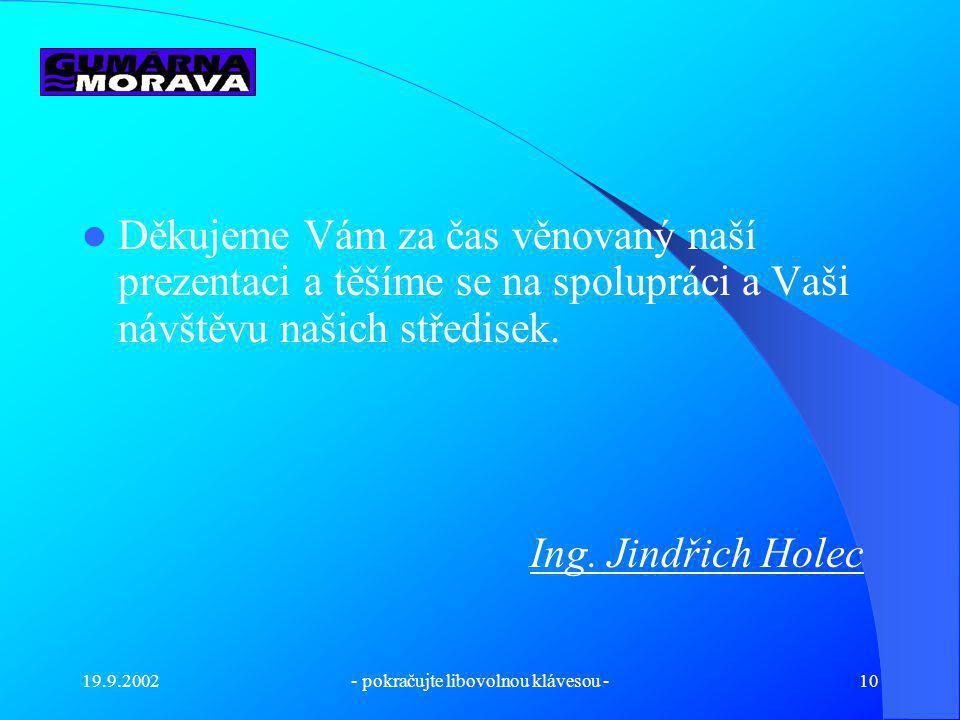 19.9.2002- pokračujte libovolnou klávesou -9 Kontakty Vedení firmy - Zálešná IX - 3034, 760 01 Zlín Tel.: 777 171 533, fax.: 577 430 058 e-mail : guma