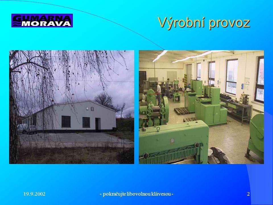 19.9.2002- pokračujte libovolnou klávesou -2 Výrobní provoz